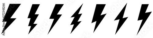 Foto Set lightning bolt. Thunderbolt flat style - stock vector.