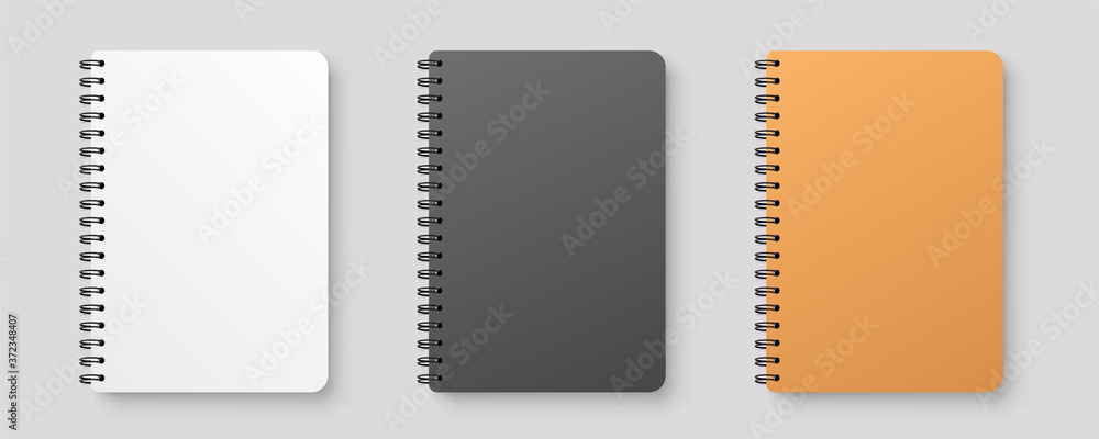 Fototapeta Realistic blank notebook. Notepad mock up with shadow isolated on isolated background.