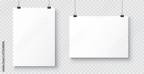 Obraz na plátně Vector realistic white blank A4 paper poster hanging on a rope with clip - stock vector
