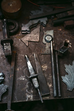 Blacksmith Tools On Work Bench.