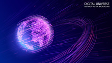 Vector. Map Of The Planet. World Map. Global Social Network. Future.  Violet And Blue Futuristic Background With Planet Earth. Internet And Technology. Floating Blue Plexus Geometric Background. .