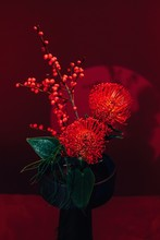 Flower Composition In Red Colors