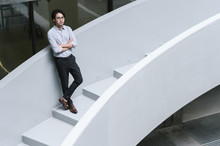 Businessman On Office Stairs