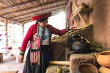 Peruvian Weaver In Peru