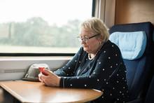 Senior Woman On The Train