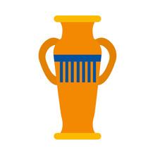 Decorative Egyptian Vase Icon, Flat Style