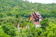 Chiang Mai, Thailand - August 1, 2020, Royal Park Rajapruek. A View From A Hill To The Royal Pavilion Among The Greenery