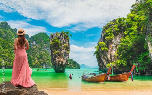 Traveler woman joy amazed nature scenic landscape James Bond island, Phang-Nga bay, Famous landmark tourist travel Phuket Thailand summer holiday vacation trip Tourism beautiful destination place Asia