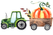 Watercolor Hand Painted Autumn Harvest Composition With Bright Pumpkins And Green Tractor