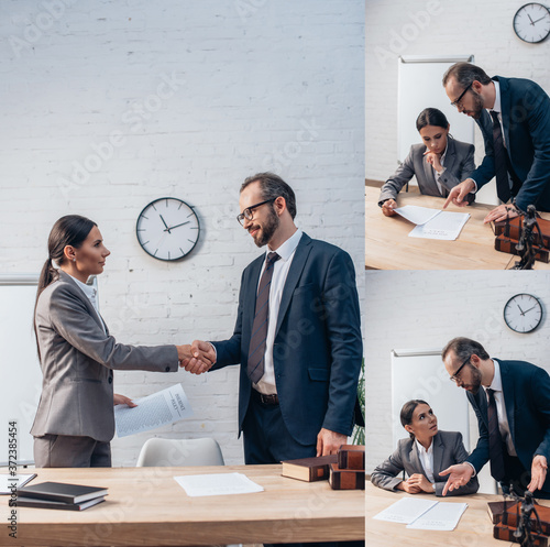 Canvastavla collage of businesswoman and bearded businessman shaking hands and looking at do