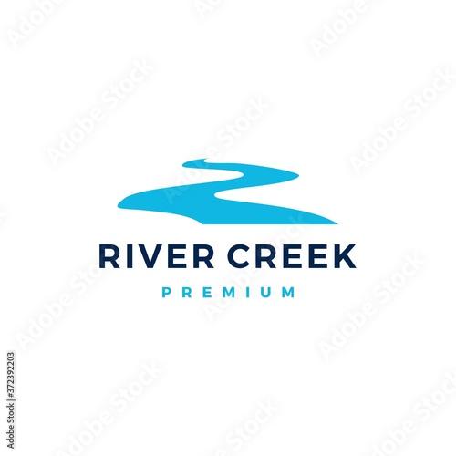 Canvas river creek logo vector icon illustration