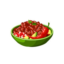 Mexican Chili Beans Dish Vector Isolated Icon. Mexico Traditional Chilli Pepper And Beans Food