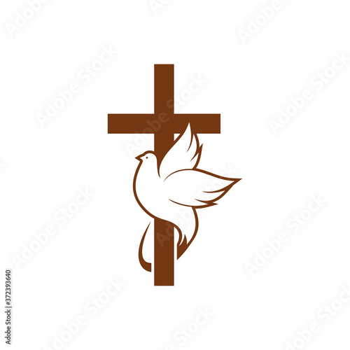 Tela Dove on peace and cross isolated religion symbol