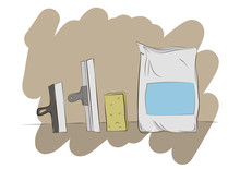 Cement Bag, Sponge And Construction Spatulas Illustration. Construction, Building Materials, Construction Equipment. Construction Repair Cement Spatula. Upgrade And Repair Process Concept