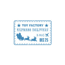 Express Delivery Post Stamp With Santa Claus, Sleigh And Deers Isolated. Vector Xmas Air Mail Postmark