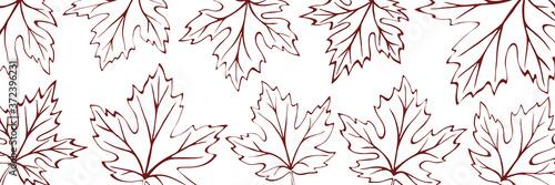 Autumn background of leaves, vector design, banner Fototapet