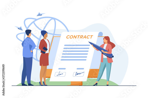 Business partners signing contract online Wallpaper Mural