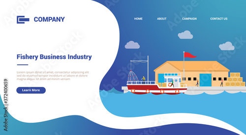 Photo fishery and warehouse port for website template or landing homepage banner