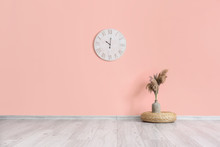Clock And Vase With Floral Dec...