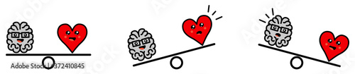 Foto Cute Kawaii style brain and heart on weight scales, balanced or one side heavier