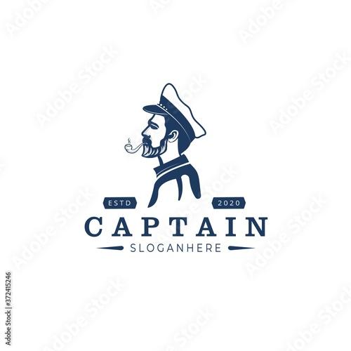 captain ship Logo Design Vector Canvas Print