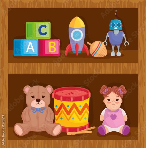 kids toys in wooden shelving vector illustration design #372415679