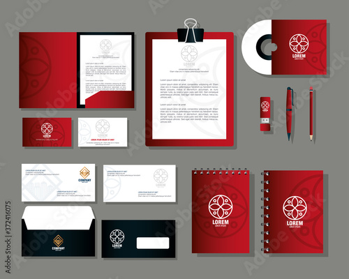 Fotografie, Obraz brand mockup corporate identity, mockup stationery supplies, red color with sign