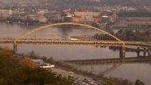 Heinz Field River Reveal Fall Autumn Winter Sunset Aerial 4K