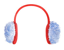 Watercolor Image Of Bright Red And Blue Fluffy Fur Ear Muffs Isolated On White Background. Hand Drawn Illustration Of Ear Warmers. Winter Accessory Fur Headphones