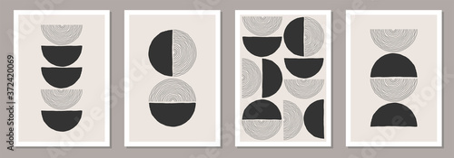 Trendy set of abstract creative minimalist artistic hand drawn compositions Fototapete