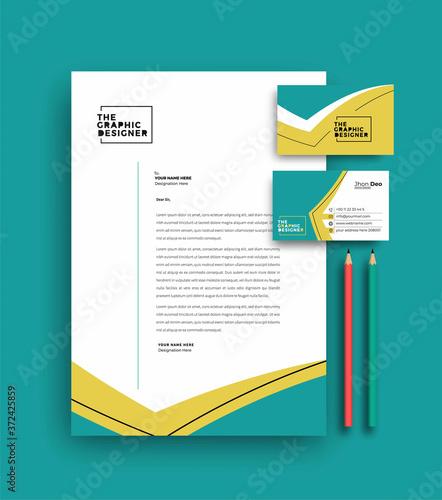 Fototapeta Business letterhead with business card templates design, Vector illustration. obraz