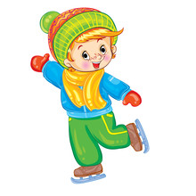 Little Boy Skating In Winter, Illustration For A Postcard, Isolated Object On A White Background, Vector Illustration,