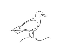 One Single Line Drawing Of Wild Seagull. Cute Bird Mascot Concept For Conservation National Park Symbol. Continuous Line Draw Design Graphic Illustration Vector. One Line Seagull Sitting On A Rock