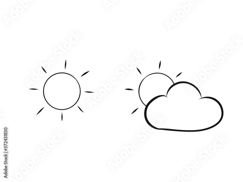 Vászonkép Soleil et nuage. Illustration météo sans fond.