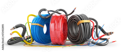 Fotografie, Obraz Color cable coils on a white background. 3d illustration