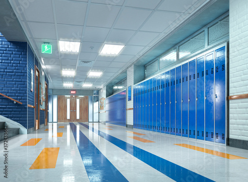 Obraz na plátně School corridor with lockers. 3d illustration
