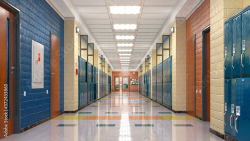 Cuadros en Lienzo School corridor with lockers. 3d illustration