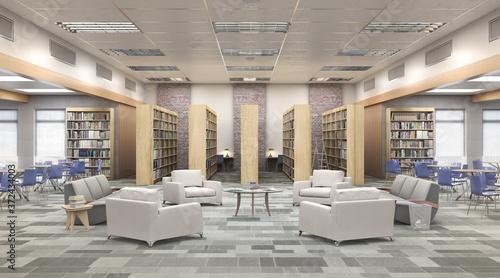Fotografia Modern library of High school  . 3d illustration