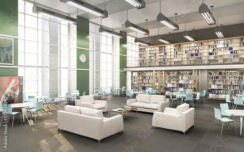 Modern library of High school  . 3d illustration Fototapet