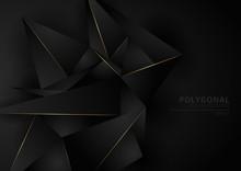 Abstract Black Geometric Polyg...