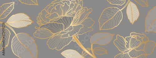 luxury Wallpaper design with golden rose flower and leaves Billede på lærred