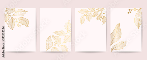 Minimal cover design with Golden leaves and floral line arts Tableau sur Toile