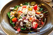 Healthy Lunch Salad Style Served On The Platter Including Fresh Bowls