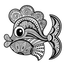 Fish Richly Decorated With Patterns. Vector Illustration In Zentangle Style. Hand-drawn Monochrome Design Elements.  Coloring Book Page