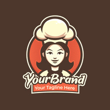 Chef Woman Logo For Pastry, Re...