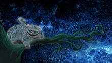 """Drawing Of A Cheshire Cat From The Fairy Tale """"Alice In Wonderland"""" Cheshire Cat Sitting On A Branch And Smiling. Cheshire Cat On A Tree. Desktop Wallpapers Cheshire Cat"""
