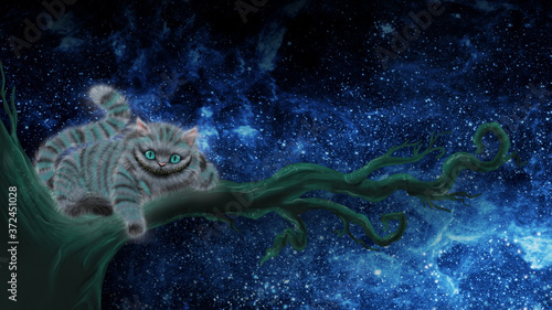 Fotografia drawing of a Cheshire cat from the fairy tale Alice in Wonderland Cheshire cat sitting on a branch and smiling