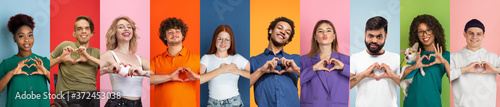 Obraz Collage of portraits of 10 young emotional people on multicolored background. Concept of human emotions, facial expression, sales, love, charity. Smiling, gesturing, heart sign with hands, kind. - fototapety do salonu