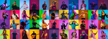 Collage Of Portraits Of 34 Young Emotional Talented Musicians On Multicolored Background In Neon Light. Concept Of Human Emotions, Facial Expression, Sales. Inspied Jazzmen, Guitarist, Singer, DJ