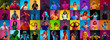 canvas print picture - Collage of portraits of 30 young emotional people on multicolored background in neon. Concept of human emotions, facial expression, sales, ad. Listening to music, dancing, shocked, laughting.